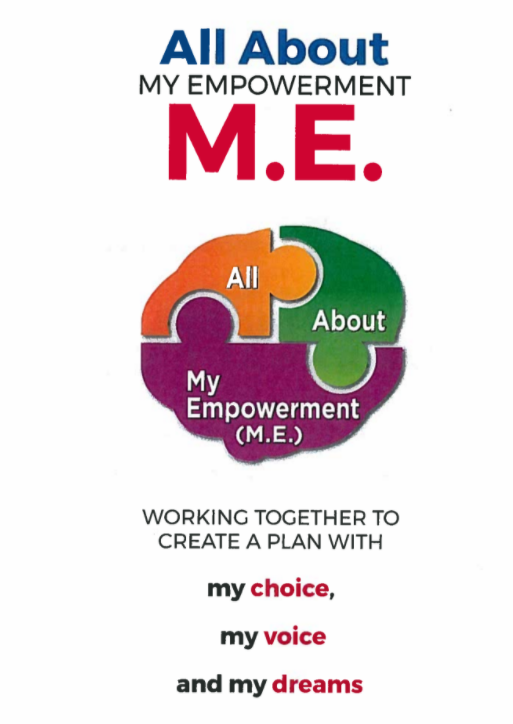 All about my empowerment booklet cover: Working together to create a plan with my choice, my voice, and my dreams.